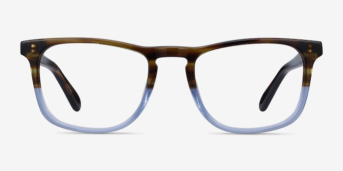Found Brown Blue Acetate Eyeglass Frames from EyeBuyDirect, Front View