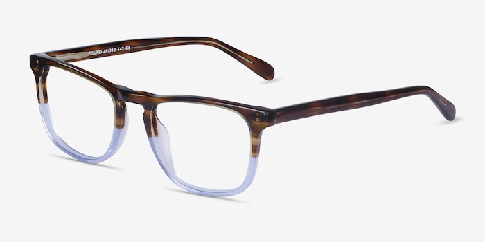 Found Brown Blue Acetate Eyeglass Frames from EyeBuyDirect, Angle View