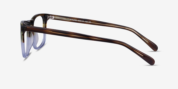 Found Brown Blue Acetate Eyeglass Frames from EyeBuyDirect, Side View