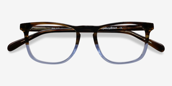 Found Brown Blue Acetate Eyeglass Frames from EyeBuyDirect, Closed View