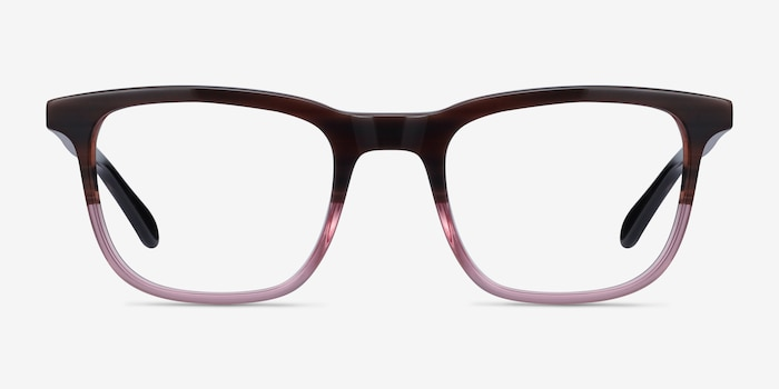 Ville Brown Purple Acetate Eyeglass Frames from EyeBuyDirect, Front View