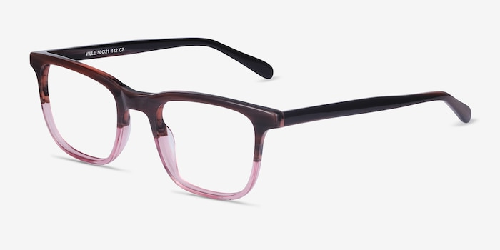 Ville Brown Purple Acetate Eyeglass Frames from EyeBuyDirect, Angle View