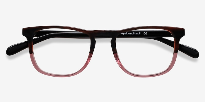 Ville Brown Purple Acetate Eyeglass Frames from EyeBuyDirect, Closed View