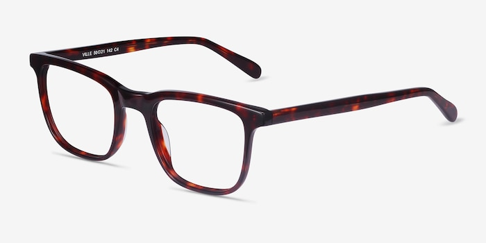 Ville Tortoise Acetate Eyeglass Frames from EyeBuyDirect, Angle View