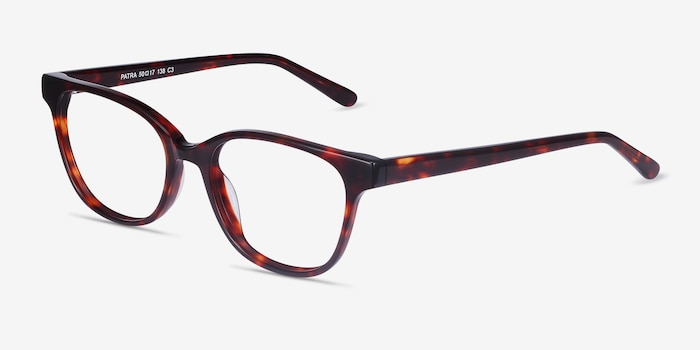 Patra Tortoise Acetate Eyeglass Frames from EyeBuyDirect, Angle View