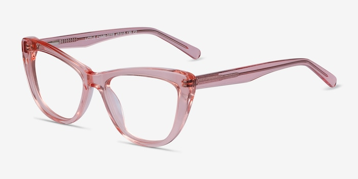 Little Charlotte Pink Acetate Eyeglass Frames from EyeBuyDirect, Angle View