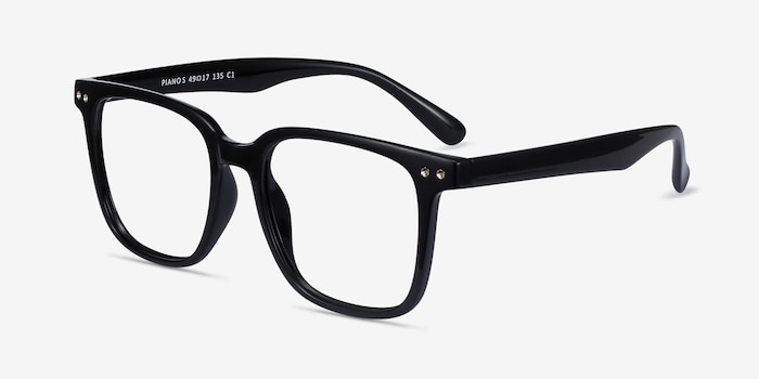 Piano Black Plastic Eyeglass Frames from EyeBuyDirect, Angle View