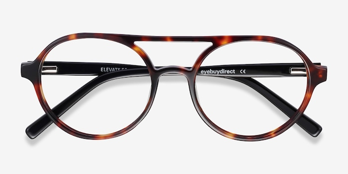 Elevate Tortoise Acetate Eyeglass Frames from EyeBuyDirect, Closed View