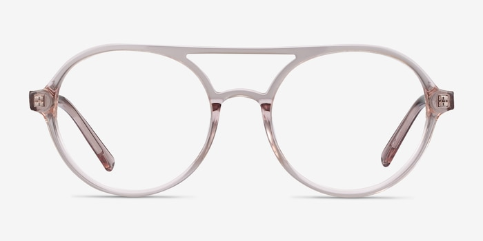 Elevate Clear Pink Acetate Eyeglass Frames from EyeBuyDirect, Front View