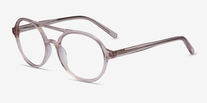 Elevate Clear Pink Acetate Eyeglass Frames from EyeBuyDirect, Angle View
