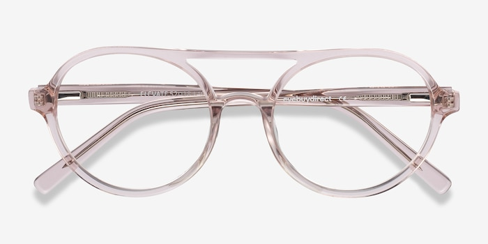 Elevate Clear Pink Acetate Eyeglass Frames from EyeBuyDirect, Closed View