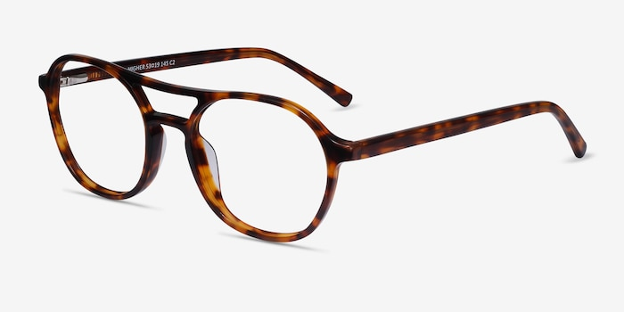 Higher Tortoise Acetate Eyeglass Frames from EyeBuyDirect, Angle View