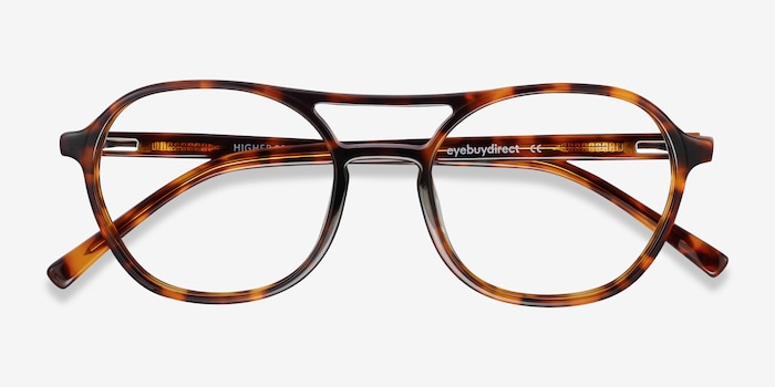 Higher Tortoise Acetate Eyeglass Frames from EyeBuyDirect, Closed View
