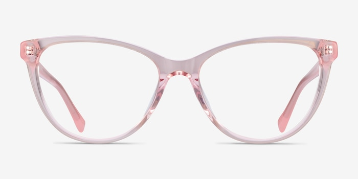 Sing Clear Pink Acetate Eyeglass Frames from EyeBuyDirect, Front View