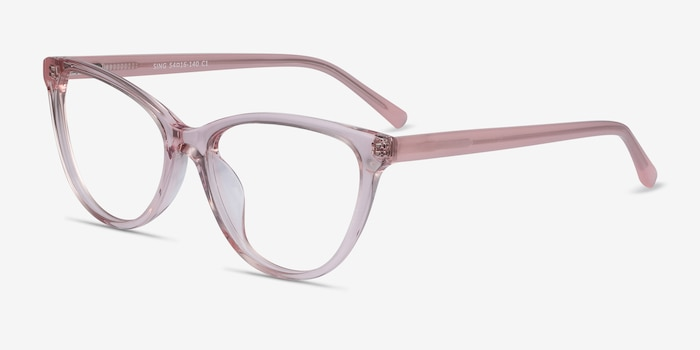 Sing Clear Pink Acetate Eyeglass Frames from EyeBuyDirect, Angle View