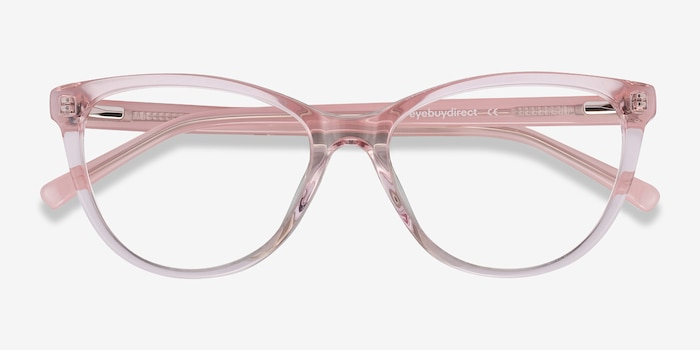 Sing Clear Pink Acetate Eyeglass Frames from EyeBuyDirect, Closed View