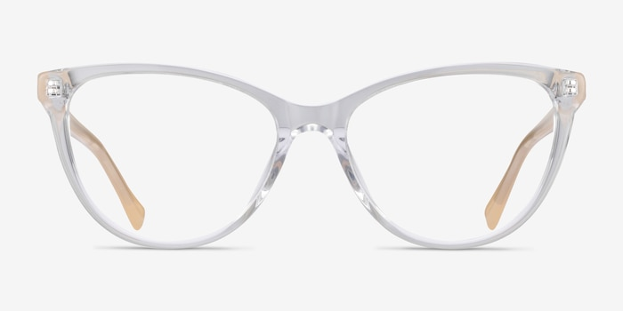 Sing Clear Yellow Acetate Eyeglass Frames from EyeBuyDirect, Front View