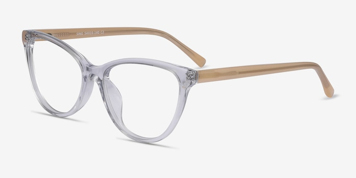 Sing Clear Yellow Acetate Eyeglass Frames from EyeBuyDirect, Angle View