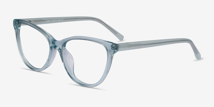 Sing Clear Blue Acetate Eyeglass Frames from EyeBuyDirect, Angle View