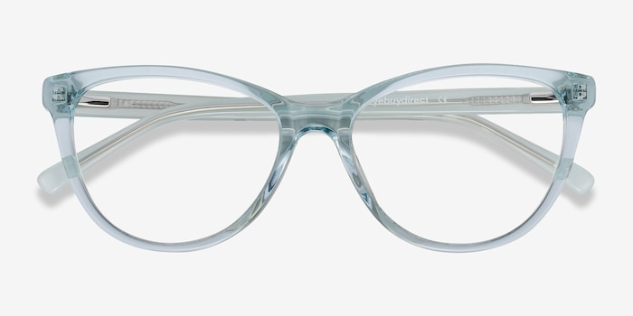 Sing Clear Blue Acetate Eyeglass Frames from EyeBuyDirect, Closed View