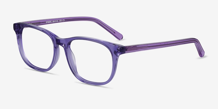 Steps Purple Acetate Eyeglass Frames from EyeBuyDirect, Angle View