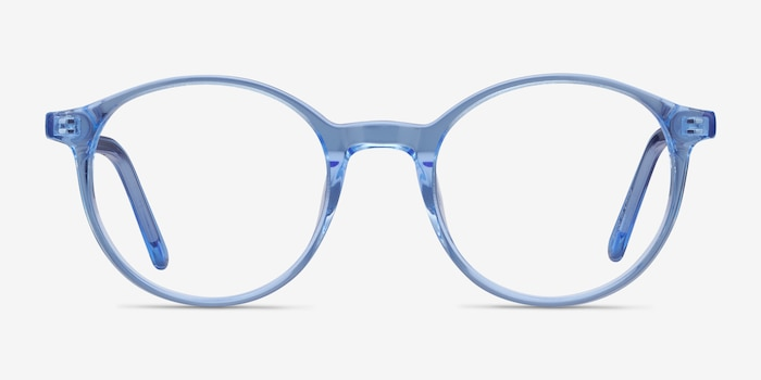 Excel Blue Acetate Eyeglass Frames from EyeBuyDirect, Front View