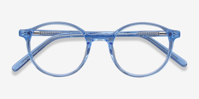 Excel Blue Acetate Eyeglass Frames from EyeBuyDirect, Closed View