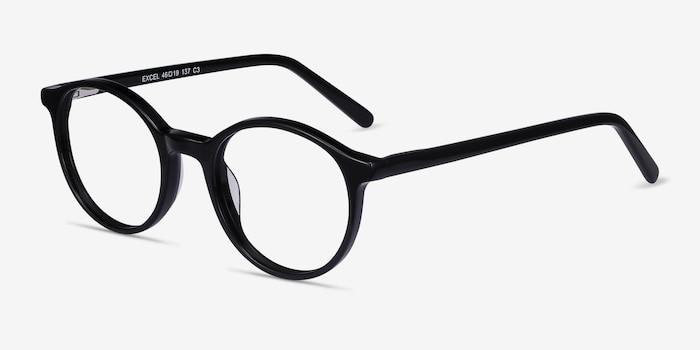 Excel Black Acetate Eyeglass Frames from EyeBuyDirect, Angle View