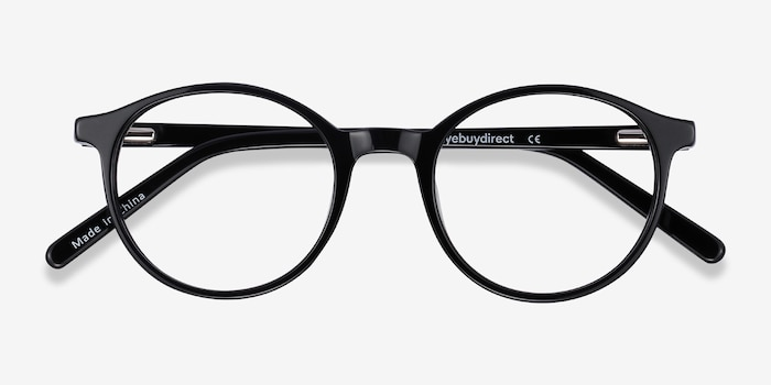 Excel Black Acetate Eyeglass Frames from EyeBuyDirect, Closed View