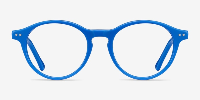 Magic Blue Acetate Eyeglass Frames from EyeBuyDirect, Front View