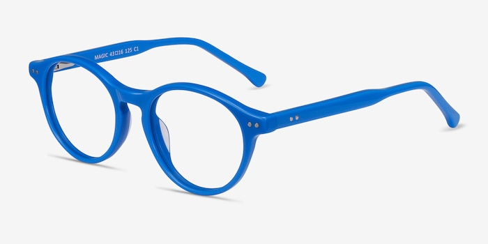 Magic Blue Acetate Eyeglass Frames from EyeBuyDirect, Angle View