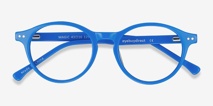 Magic Blue Acetate Eyeglass Frames from EyeBuyDirect, Closed View