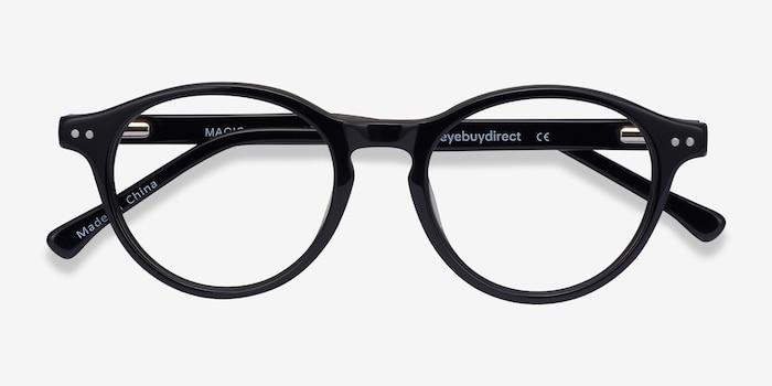 Magic Noir Acétate Montures de Lunettes d'EyeBuyDirect, Vue Rapprochée