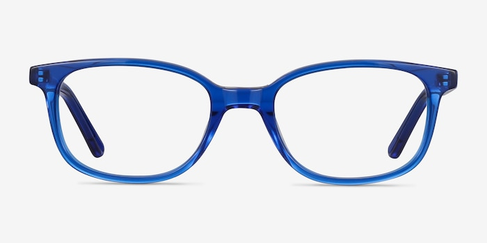 Leap Blue Acetate Eyeglass Frames from EyeBuyDirect, Front View
