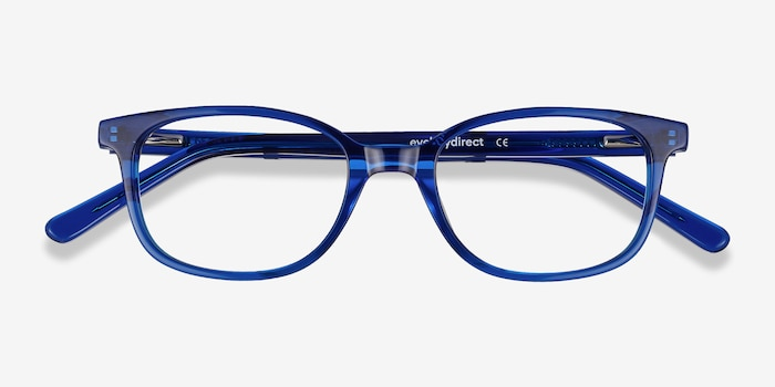 Leap Blue Acetate Eyeglass Frames from EyeBuyDirect, Closed View