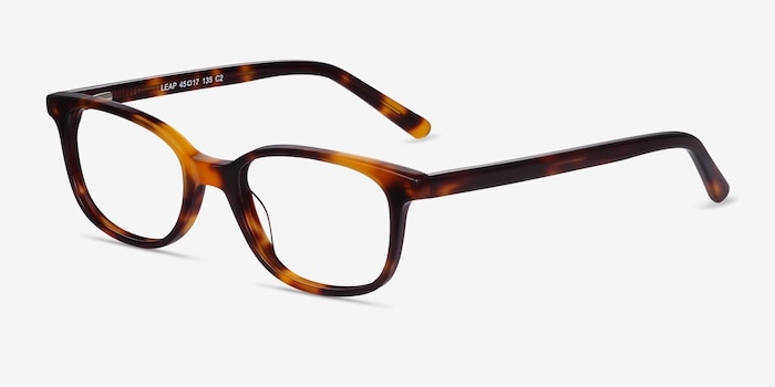 Leap Tortoise Acetate Eyeglass Frames from EyeBuyDirect, Angle View