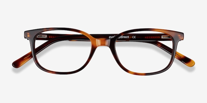 Leap Tortoise Acetate Eyeglass Frames from EyeBuyDirect, Closed View