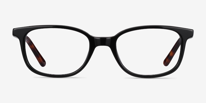 Leap Black Acetate Eyeglass Frames from EyeBuyDirect, Front View