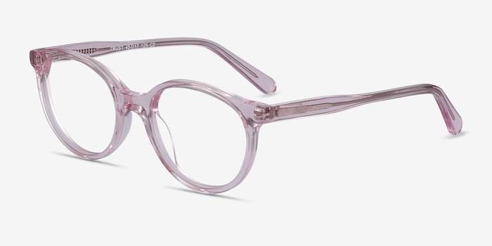 Trust Clear Pink Acetate Eyeglass Frames from EyeBuyDirect, Angle View