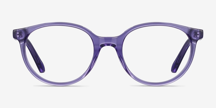 Trust Clear Purple Acetate Eyeglass Frames from EyeBuyDirect, Front View