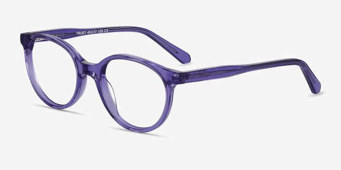 Trust Clear Purple Acetate Eyeglass Frames from EyeBuyDirect, Angle View