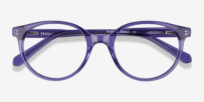 Trust Clear Purple Acetate Eyeglass Frames from EyeBuyDirect, Closed View