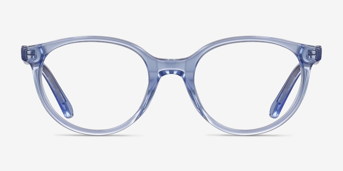 Trust Clear Blue Acetate Eyeglass Frames from EyeBuyDirect, Front View