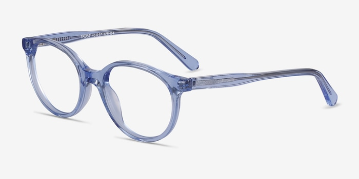 Trust Clear Blue Acetate Eyeglass Frames from EyeBuyDirect, Angle View