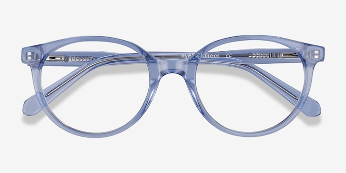 Trust Clear Blue Acetate Eyeglass Frames from EyeBuyDirect, Closed View