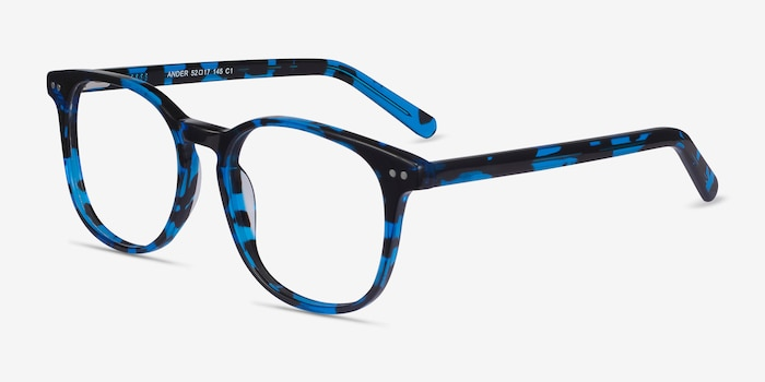 Ander Blue Tortoise Acetate Eyeglass Frames from EyeBuyDirect, Angle View