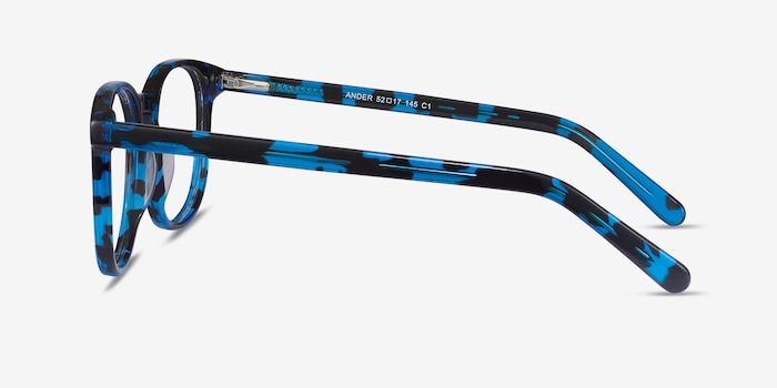Ander Blue Tortoise Acetate Eyeglass Frames from EyeBuyDirect, Side View