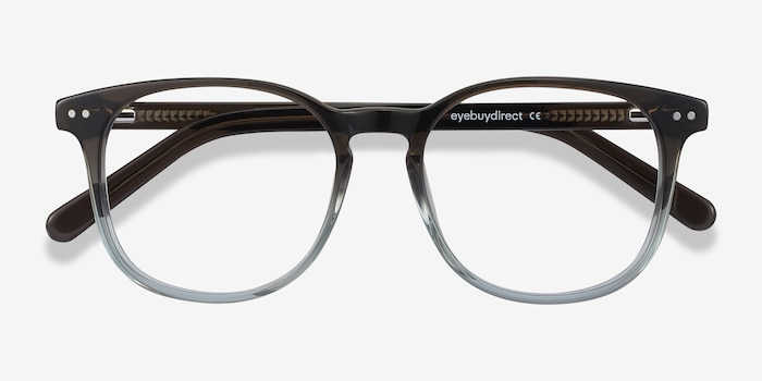 Ander Gray Clear Acetate Eyeglass Frames from EyeBuyDirect, Closed View