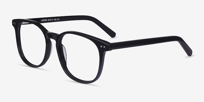 Ander Black Acetate Eyeglass Frames from EyeBuyDirect, Angle View