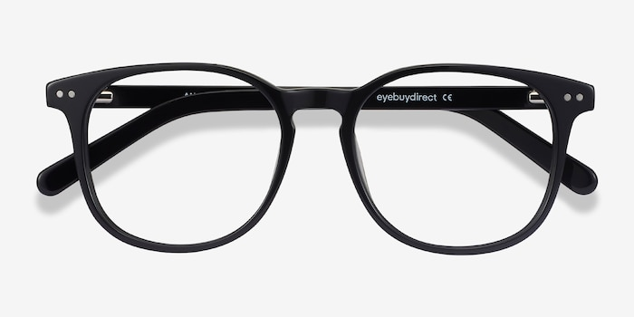 Ander Black Acetate Eyeglass Frames from EyeBuyDirect, Closed View